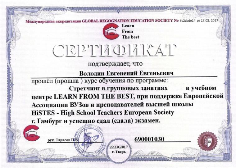 Диплом Володина Евгения Евгеньевича